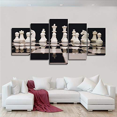 Gwgdjk Modulare Drucke Poster Leinwand Malerei Kunstwerk 5 Stücke Schwarz Und Weiß Schachbilder Wandkunst Moderne Wohnzimmer Hd Decor-10X15/20/25Cm,With Frame