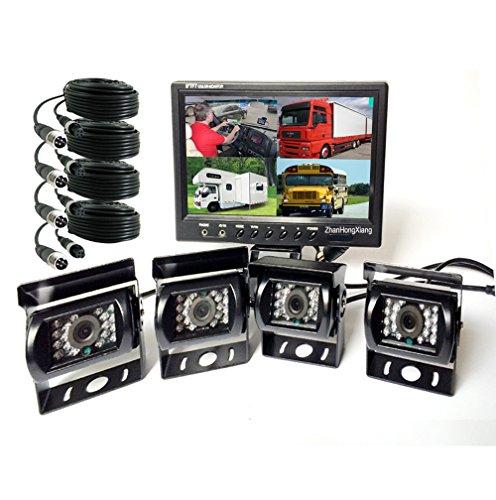 Vehicle Backup Cameras Monitor kit 4 Pin System 12V/24V,4X 18 LED IR Night Version CCD Car Reverse Rear View Camera + 9' inch LCD 4CH Split Monitor for Bus Truck Trailer Caravan Camper RV