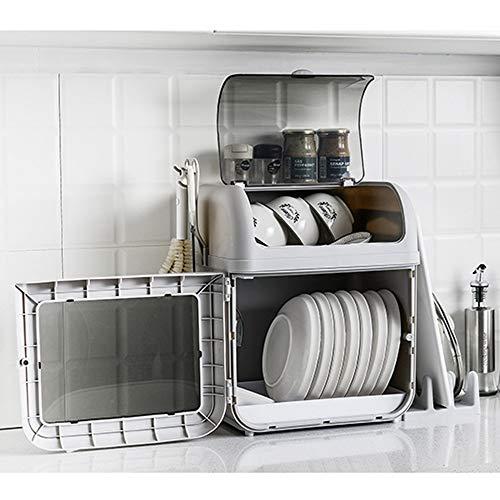 Escurridor Para Cocina Plástico Estante for Platos gran plato rack Escurridor de cubiertos Holder y titular de la Copa de cocina fácil de limpiar Marrón Gris ( Color : Marrón , Size : 41x33x28cm )