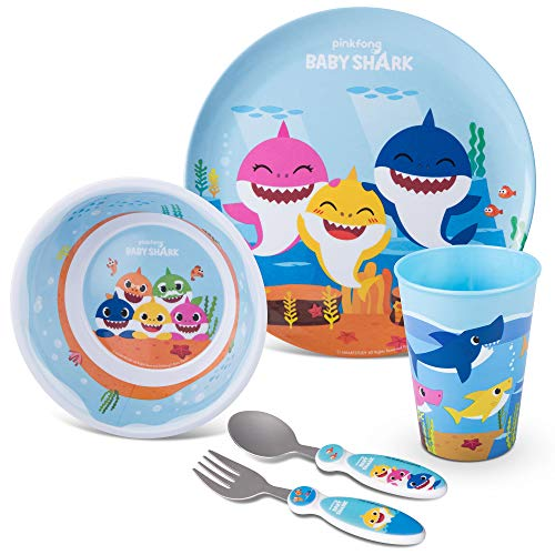 Franco Kids Dinnerware Cartoon Designed Mealtime Kitchen Set, 5 peças, Baby Shark