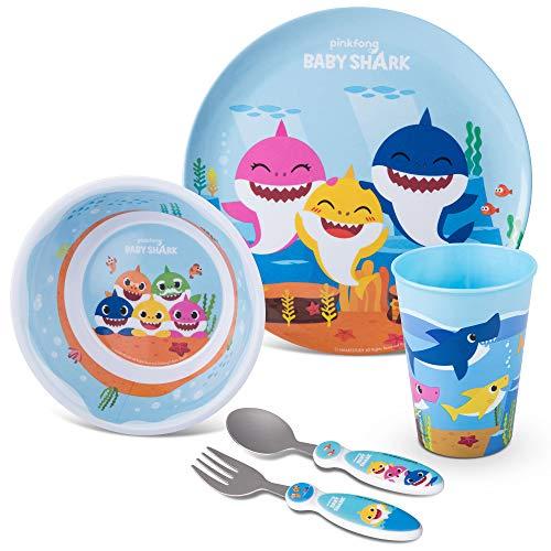 Franco Kids Dinnerware Cartoon Designed Mealtime Kitchen Set, 5 Piece Pack, Baby Shark