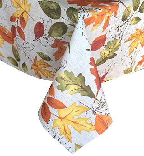 Newbridge Country Rustic Breezy Foliage Fabric Tablecloth, Contemporary Bold Colorful Cottage Leaf Print, Soil Resistant, No Iron Easy Care Tablecloth, 60 Inch x 102 Inch Oblong/Rectangle