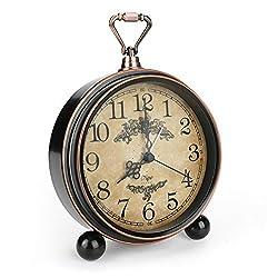 Allnice 5.3 Vintage Shelf Clock, Silent Non-Ticking Table Clock Shelf Decor Desk Alarm Clock, Battery Powered | Quartz Movement | Arabic Numerals