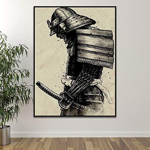Baobaoshop 1 stück rahmenlose leinwand malerei Kunst malerei japanischen Samurai leinwand malerei Moderne wandkunst Bild abstrakte Wohnzimmer Dekoration Poster und drucken