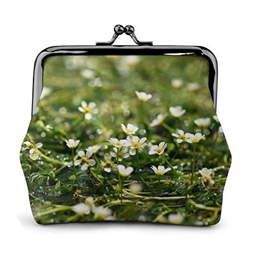 財布 がま口 レディース ウォレット ミニポーチ ミニウォレット 小銭入れ PU革 地蔵川に咲く梅花藻 かわいい コインケース カード収納