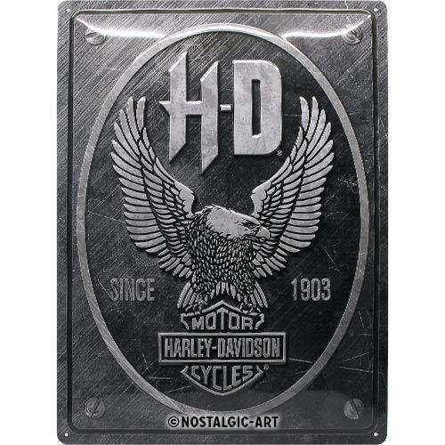 Nostalgic-Art Plaque Vintage Harley-Davidson – Metal Eagle – Idée de Cadeau pour Les Fans de Moto, en métal, Déco Design Retro, 30 x 40 cm