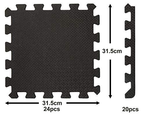 24 St Bodenschutzmatten mit Rand 20 St schwarz viereckig je 30,5x30,5cm leichte 1cm dick gesamt 2,2m² Unterlegmatten Schutzmatten Bodenmatten Sportmatten Puzzlematte Wärme isolierend EVA Kunststoff
