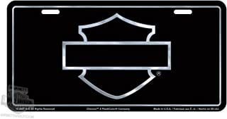 Harley-Davidson Black Front License Plate Black with Silver Open B&S