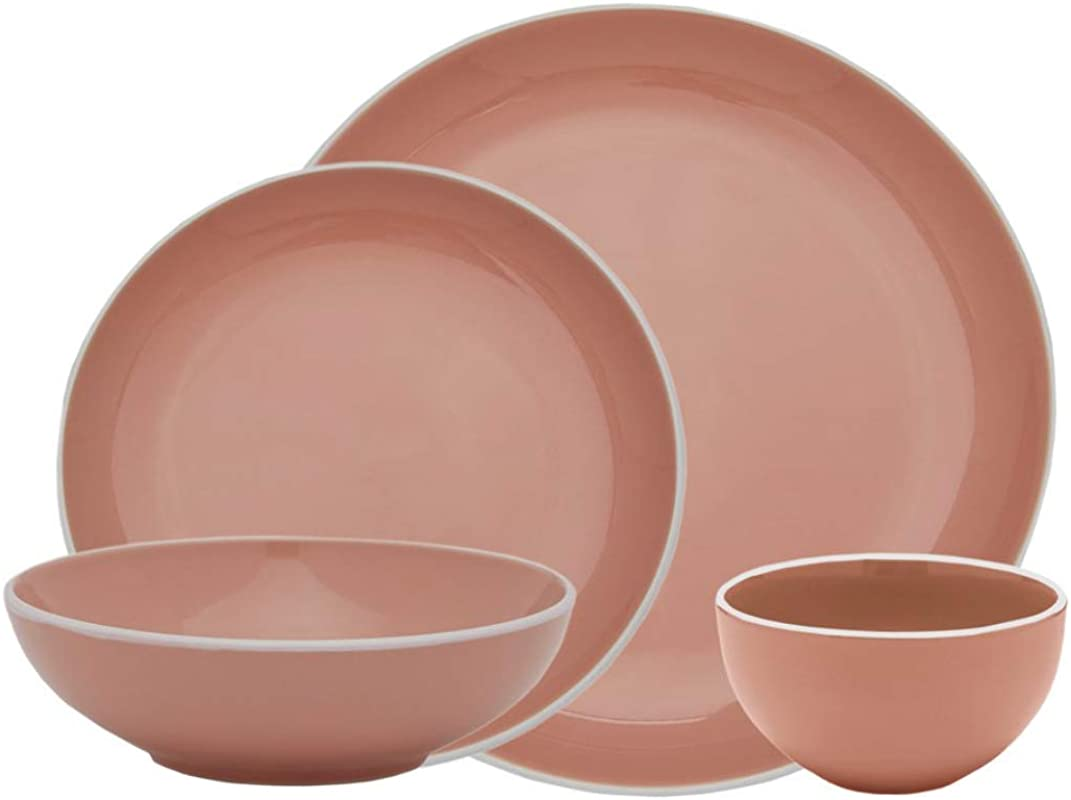 Halo By Darbie Angell Harmony 16 Piece Stoneware Dining Set Pink