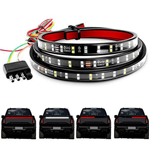 LED Tailgate Light Bar DIBMS 60 Inches Double Row Tail Light Bar White Reverse Red Brake Turn Signal Strobe Light with Standard 4-Pin Flat Connector for Pickup Trailer SUV RV VAN No Drill Install