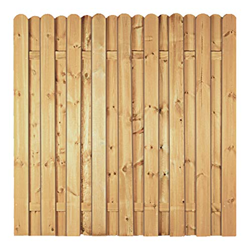 Gartenzaun Lieke-Serie I Lamellenzaun, Sichtschutzzaun aus Kiefer-Fichte-Holz, Farbe grün, druckimprägniert I 1) Anbauset Bogen I Zum Aufschrauben
