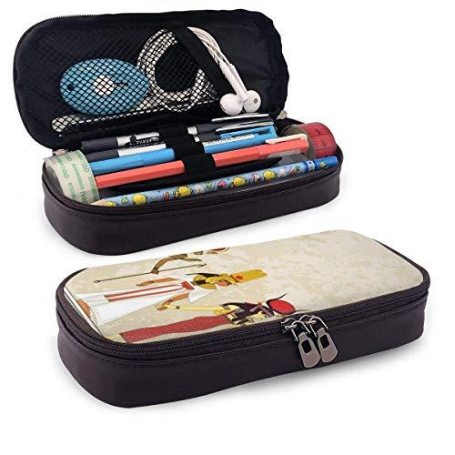 Altes Ägypten Banner Leder Niedliches Bleistiftetui Hochleistungs-Bleistiftbeutel Briefpapier Organizer Multifunktions-Kosmetik-Make-up-Tasche Perfekter Halter für Bleistifte und Kugelschreiber