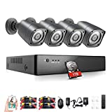 Rraycom 4 Channel 1080H Home Security DVR 2000TVL with 4PC 720P HD Outdoor Weatherproof Surveillance Camera System 1TB Hard Drive(115ft Night Vision,Motion Alert,Smartphone and PC Remote Access)