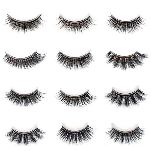HULIJUAN Faux Mink Eyelashes 12 Pairs 12 Styles Mixed Lashes, Light Volume Short Crossed Fake Eyelashes, Self-Adhesive False Eyelashes A 12Pairs