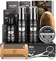 Beard Growth Kit,Beard Grooming Kit,Perfect Gifts for Men Him Dad Fathers Boyfriend with Shampoo Wash,Conditioner,Growth Oil,Balm Softener,Double-sided Comb,Bristle Brush and Trimming Scissors