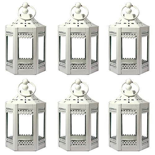 "6pc 4.5"" Metal Tealight Mini White Candle Lanterns"