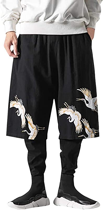 TANLANG Men Flax Retro Trousers Large Individualized Printed Stitching Handsome Trouser Pant