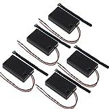 KEESIN Caja del soporte de batería AAA 4.5V Caja de almacenamiento de batería de plástico con interruptor de ENCENDIDO / APAGADO y ataduras de cables autoadhesivas (3 solidos × 5 piezas)