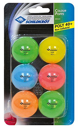 Donic-Schildkröt Tischtennisball Colour Popps, 6 farbige Bälle in Poly 40+ Qualität, 649015