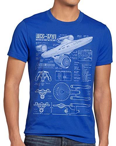 style3 NCC-1701 Blaupause T-Shirt Herren Christopher Pike Trek Trekkie Star, Größe:XL, Farbe:Blau