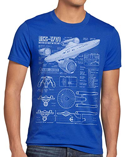 style3 NCC-1701 Camiseta para Hombre T-Shirt Fotocalco Azul Christopher Pike Trek Trekkie Star, Talla:XL, Color:Azul