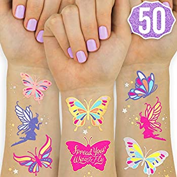 xo Fetti Butterfly Tattoos for Kids - 50 Glitter styles   Birthday Party Supplies Butterfly Party Favors + Fairy Decor