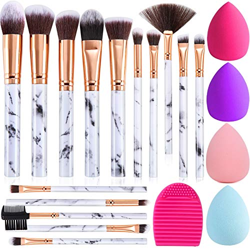 Make up Pinsel DUAIU 15PCs Pinselset Makeup Schminkpinsel Set Synthetische Rouge Contour Foundation Concealer Lidschatten Pinsel mit Make up Schwamm und Reiniger Pinsel Ei