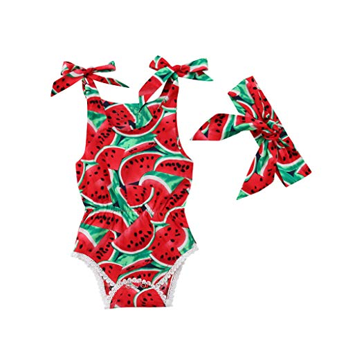 Lowest Price! Beppter Toddler Infant Baby Boy Girl Jumpsuit,Watermelon Print Bowknot Romper Bodysu...