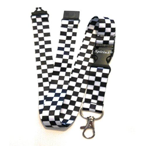 Correa de cuello para el teléfono SpiriuS, cordón con gancho de seguridad a la moda para el móvil, las llaves, tarjetas de identificación, color white black squares