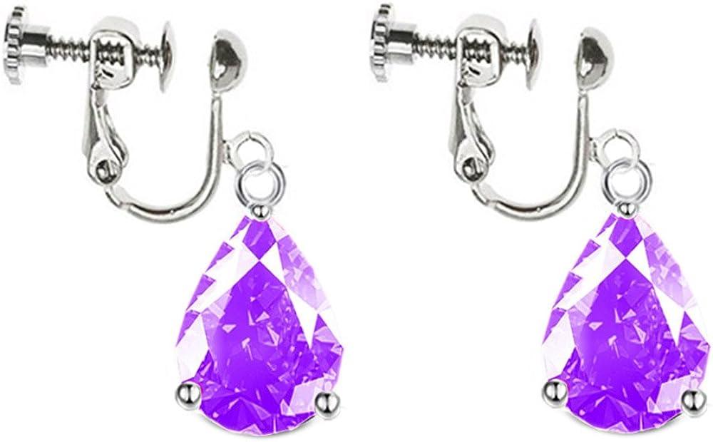 Clip On Earrings Purple Waterdrop Earrings Dangle No Piercing Cubic Zirconia White Gold Plated Proms