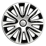 4er Set Radkappen Radzierblenden Radabdeckungen Modell Nardo Silber und Schwarz 14 Zoll