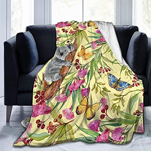 Manta de Felpa Suave Cama Mariposa del árbol de Koala Manta Gruesa y Esponjosa Microfibra, Suave, Caliente, Transpirable para Hogar Sofá , Oficina, Viaje