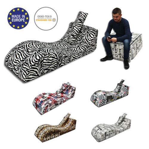 Odolplusz Sofa Relax, Multimedia Sessel 2 IN 1 platzsparend (Zebra)