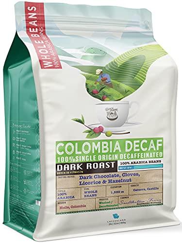 32 Ounce (2 LB) 100% Decaffeinated Colombia Whole Coffee Beans Smooth Dark Roast Low Acidity All Natural Single Origin Caffeine Free. Dark Chocolate, Cloves, Hazelnut - CoffeaFarms by Coffeeland.