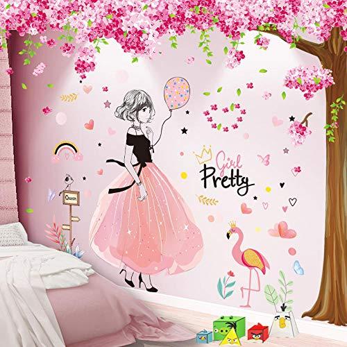 Tapete selbstklebende Tapete Ornament Wandtattoo Kreative Wandtattoo 22. Kirschblütenbaum + Pretty Girl_Extra groß