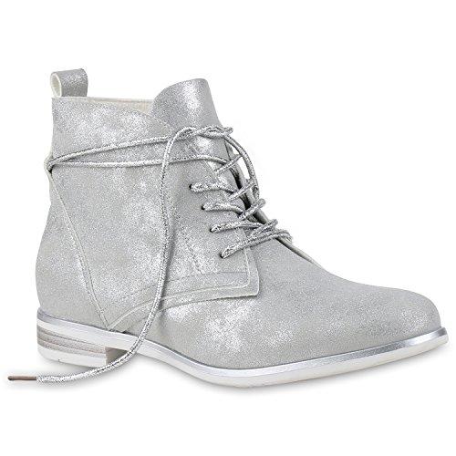 Damen Boots Schnürstiefel Glitzer Stiefeletten Metallic Schuhe 131122 Silber 36 Flandell