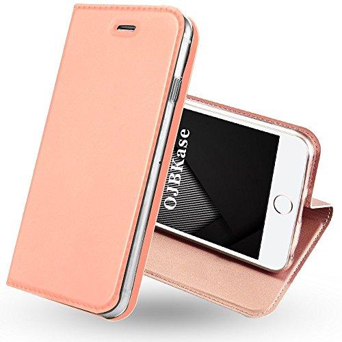 OJBKase Coque iPhone 5/5S/SE, Housse PU Premium Portefeuille de Protection, Emplacements Cartes avec Fonction Support et Languette Coque TPU Protection pour Apple iPhone 5/5S/SE (Or Rose)