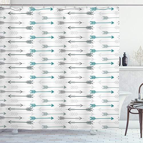 ABAKUHAUS Duschvorhang, Retro Pfeil Muster in der Horizontalen Linie die zu Den Gegenüberliegenden Richtungen Artwork, Blickdicht aus Stoff inkl. 12 Ringe für Das Badezimmer Waschbar, 175 X 200 cm