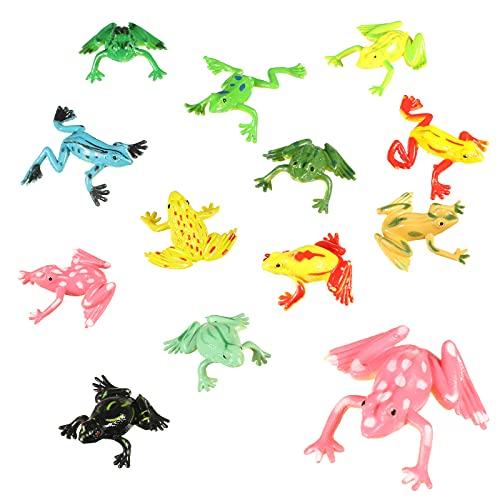 4 Pezzi Sets di Rane di Gomma Rana di Plastica Colorata Mini Giocattoli Rana Figurina Rana Realistica para Bambini Disegni Assortiti Giocattoli per Vasca da Bagno