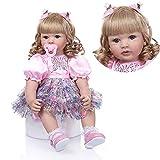 Pinky Reborn 24 Pulgadas 60cm Realista Muñecos bebé Renacer Bebé Hermosa Muñeca Silicona Bebe Reborn...