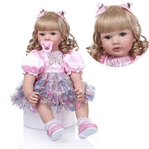 Pinky Reborn 24 Pulgadas 60cm Realista Muñecos bebé Renacer Bebé Hermosa Muñeca Silicona Bebe Reborn Toddler Niña Recien Nacido (Item 6)