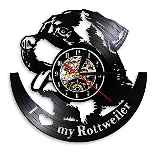 QAZQAZ Reloj de Pared Amo Rottweiler Rottie Love Home Art Decor Reloj de Pared Raza de Perro Rottweiler Disco de Vinilo Reloj de Pared Perro Pet Shop Regalo