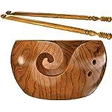 """Wooden Yarn Bowl for Knitting Crocheting w/2 Crochet Hooks & Premium Travel Bag - 7"""" x 4"""" - Natural Teakwood Thread Valet Yarn Holder Snag-Free Dispenser for Yarn Storage, Handmade by YSCEN"""