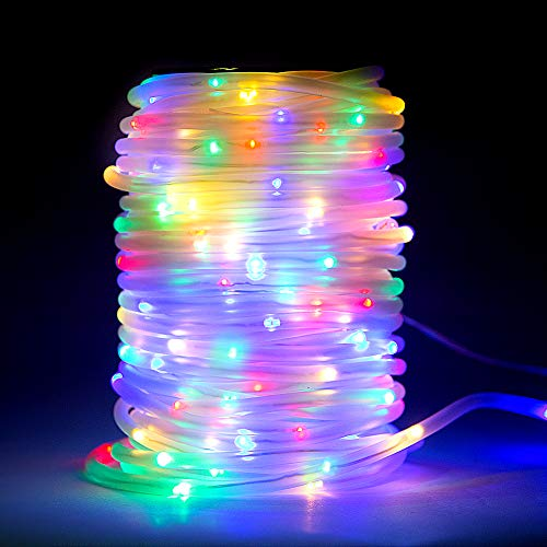 66Ft Rope LED Lights Decoration Garden, E-thinker 200 LEDs Multicolour String Rope Lights with Remote, Timing Function, Waterproof Flexible Rope LEDs Light for Outdoor, Party, Backyard, Landscape