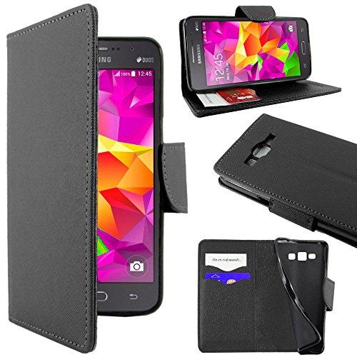 ebestStar - Coque Compatible avec Samsung Grand Prime Galaxy G530F, Value Edition G531F Etui PU Cuir Housse Portefeuille Porte-Cartes Support Stand, Noir [Appareil: 144.8 x 72.1 x 8.6mm, 5.0'']