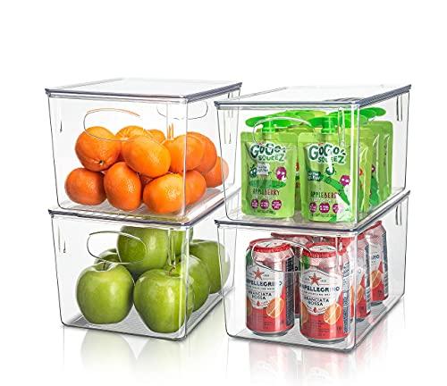 Sorbus Contenedores de plástico transparente con tapa, organizador de despensa apilable, contenedores para organizar la cocina nevera,...