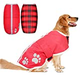 PUPTECK Reversible Dog Winter Clothes Waterproof Reflective Cold Weather Jacket Large Red