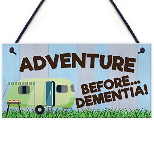 RED OCEAN Adventure Before Dementia Novelty Hanging Plaque Funny Retirement Gift Retiring Caravan Sign