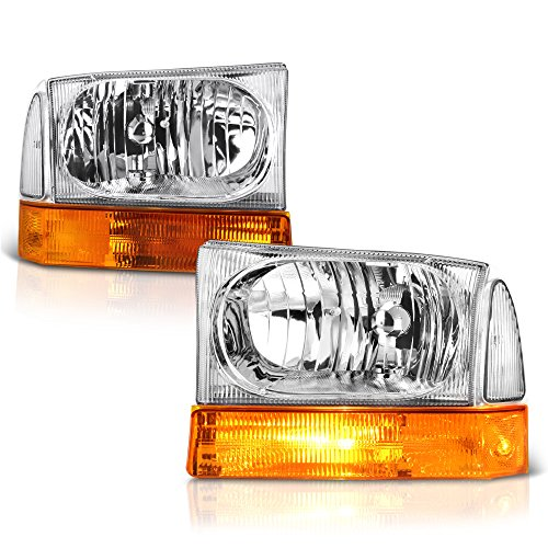 For 1999-2004 Ford Excursion F-250 F-350 Super Duty Pickup Truck 6PCs Chrome Housing Headlight Amber Lens Turn Signal Corner Lamp Assembly Replacement Set Driver & Passenger Side