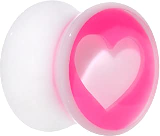 "Body Candy Acrylic White Pink Heart Saddle Plug 9/16"" (1 Piece)"